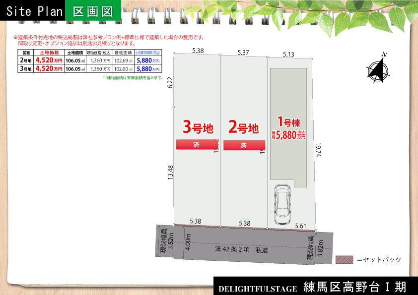 【区画図】練馬区高野台Ⅰ期【全1棟+2区画】